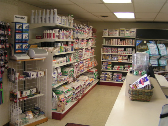 A large product display next to the front reception desk